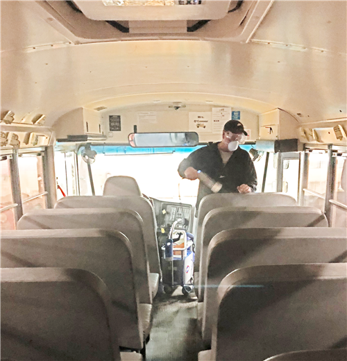 Bus sanitizing, March 2020