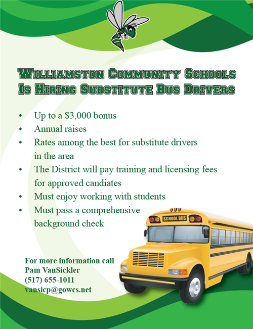 2019 Substitute Bus Driver Incentive