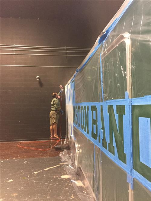 Trailer being painted